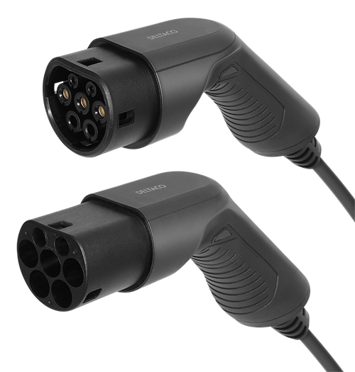 DELTACO e-Charge laddkabel, typ 2 till typ 2, 1 fas, 16A, 3,6KW, 10m