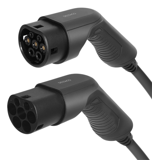 DELTACO e-Charge laddkabel, typ 2 till typ 2, 1 fas, 32A, 7,6KW, 10m