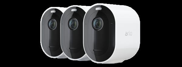 Arlo Pro 4 Spotlight - Trådlöst 2K QHD säkerhetssystem med 3 kameror - Vit