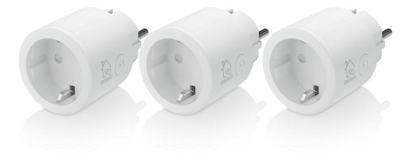 Deltaco Smart Home SH-P01-3P strömbrytare, WiFi 2,4GHz, 1xCEE 7/3, 10A, timer, 220-240V, 3-pack, vit