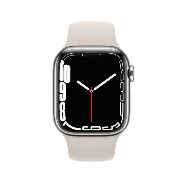 Apple Watch Series 7 - 41mm / GPS + Cellular / Silver Stainless Steel Case / Starlight Sport Band
