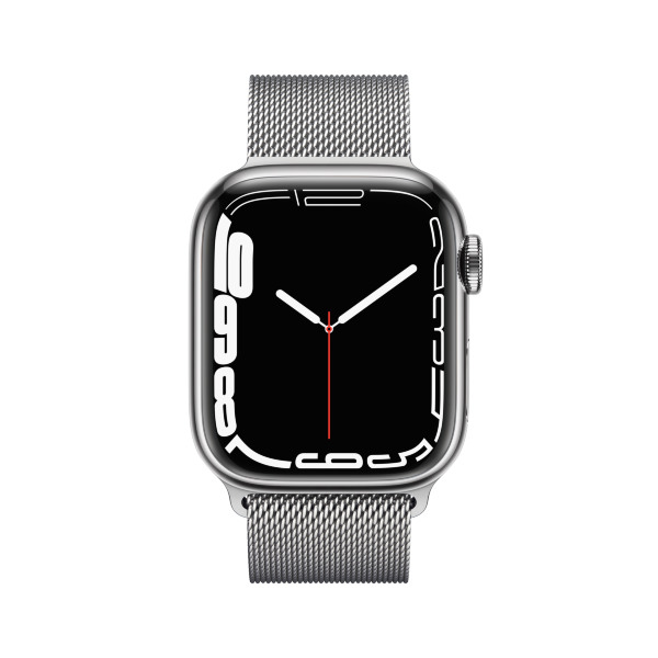 Apple Watch Series 7 - 41mm / GPS + Cellular / Silver Stainless Steel Case / Silver Milanese Loop