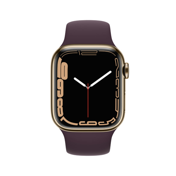 Apple Watch Series 7 - 41mm / GPS + Cellular / Gold Stainless Steel Case / Dark Cherry Sport Band
