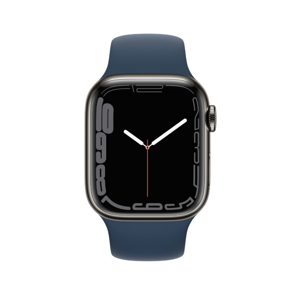 Apple Watch Series 7 - 41mm / GPS + Cellular / Graphite Stainless Steel Case / Abyss Blue Sport Band