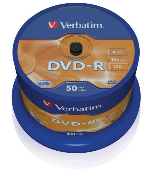 Verbatim DVD-R 16X 4,7GB 50-Pack (Cakebox)
