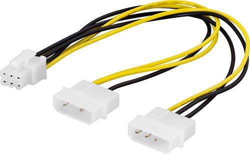 Deltaco Adapterkabel 2xmolex till 6-pin PCI-Express, 25cm