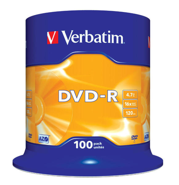 Verbatim DVD-R 16X 4,7GB 100-Pack (Cakebox)