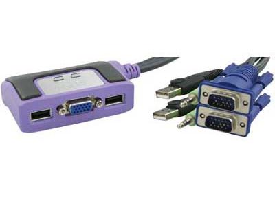 Aten 2-Port KVM-Switch 1 konsol styr 2 datorer USB inkl.kablar